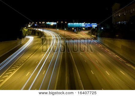 Highway E4 at night. Stockholm, Sweden. Long exposure. poster