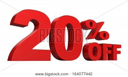 3d render of 20 Percent off sale text isolated over white background