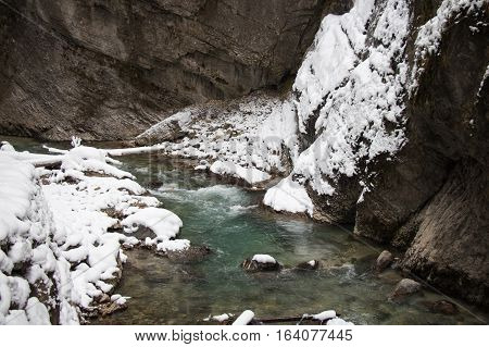 The view of Partnach Gorge in winter time. Garmisch-Partenkirchen. Germany.