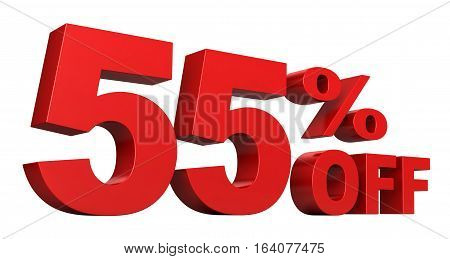3d render of 55 percent off sale text isolated over white background