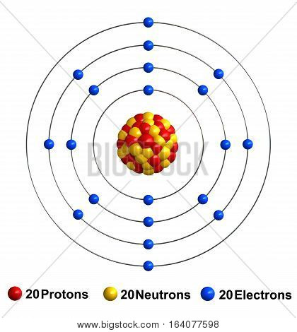 3d render of atom structure of calcium isolated over white background Protons are represented as red spheres neutron as yellow spheres electrons as blue spheres