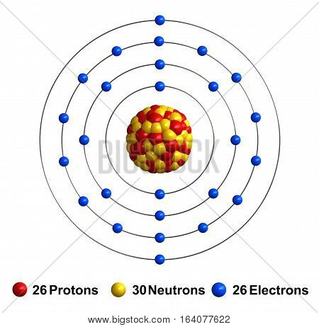 3d render of atom structure of iron isolated over white background Protons are represented as red spheres neutron as yellow spheres electrons as blue spheres