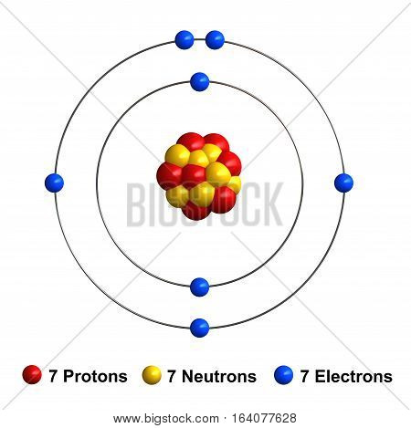 3d render of atom structure of nitrogen isolated over white background Protons are represented as red spheres neutron as yellow spheres electrons as blue spheres