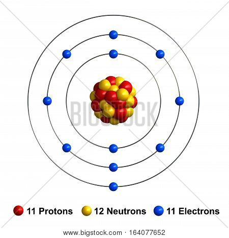 3d render of atom structure of sodium isolated over white background Protons are represented as red spheres neutron as yellow spheres electrons as blue spheres