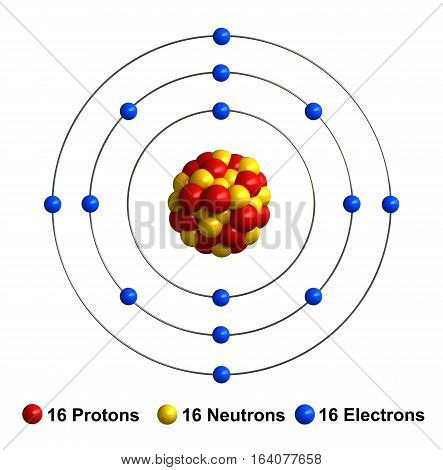 3d render of atom structure of sulfur isolated over white background Protons are represented as red spheres neutron as yellow spheres electrons as blue spheres
