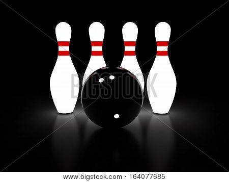 Abstract 3d rendering of bowling pins and ball