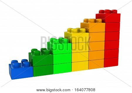 3d render of abstract chart from plastic building blocks isolated over white background