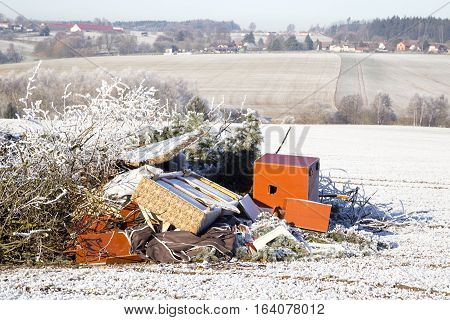 Rubbish on a field ecology mess winter