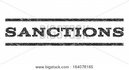 Sanctions watermark stamp. Text tag between horizontal parallel lines with grunge design style. Rubber seal gray stamp with unclean texture. Vector ink imprint on a white background.