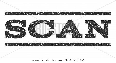 Scan watermark stamp. Text caption between horizontal parallel lines with grunge design style. Rubber seal gray stamp with dust texture. Vector ink imprint on a white background.