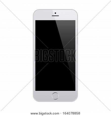 smartphone grey color with blank touch screen isolated on white background. stock vector illustration eps10