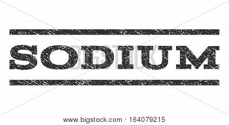 Sodium watermark stamp. Text tag between horizontal parallel lines with grunge design style. Rubber seal gray stamp with unclean texture. Vector ink imprint on a white background.