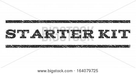 Starter Kit watermark stamp. Text tag between horizontal parallel lines with grunge design style. Rubber seal gray stamp with dust texture. Vector ink imprint on a white background.