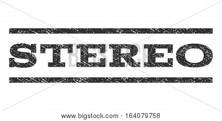 Stereo watermark stamp. Text tag between horizontal parallel lines with grunge design style. Rubber seal gray stamp with dirty texture. Vector ink imprint on a white background.
