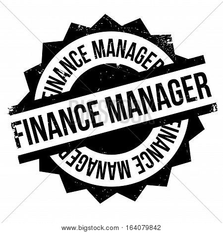 Finance Manager rubber stamp. Grunge design with dust scratches. Effects can be easily removed for a clean, crisp look. Color is easily changed.