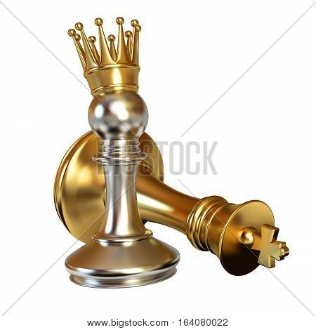 Pawn puts checkmate. Pawn with golden crown. Conceptual illustration. Isolated on white background. 3D illustration. 3D rendering