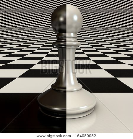 Black and white pawn on the chessboard background. 3D illustration. 3D rendering