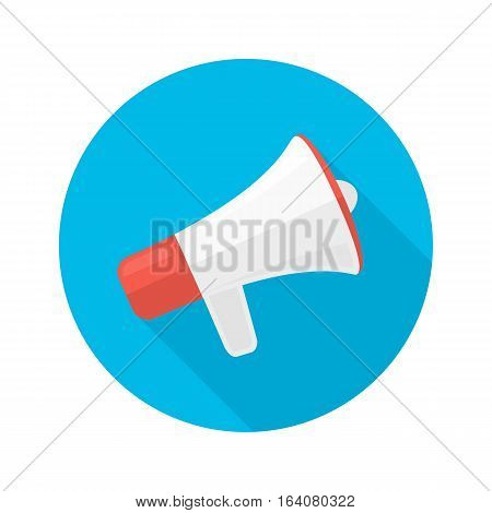 Flat vector icon of megaphone with long shadow. Icon for social media marketing concept. Megaphone sign in modern flat style.