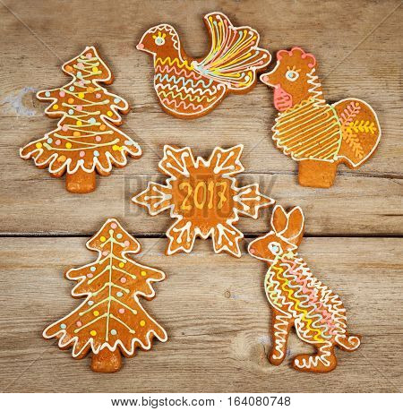 Christmas Cookies for 2017 laid out on a wooden surface