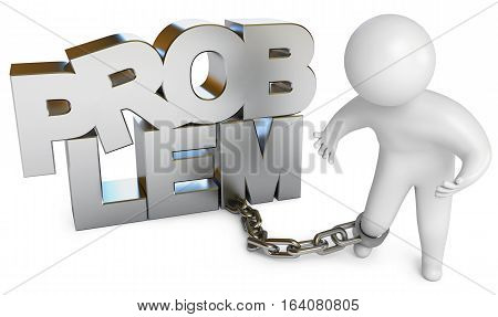 A man chained to a problem. Isolated on white background. 3D illustration. 3D rendering