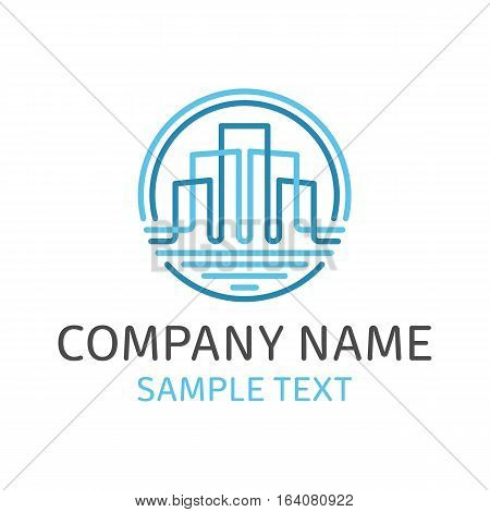 House Abstract Emblem for Real Estate Template for Company. Vector concept Logo design with commercial building. Business concept.