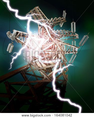 Power Transmission Line. Lightning strike. 3D illustration. 3D rendering