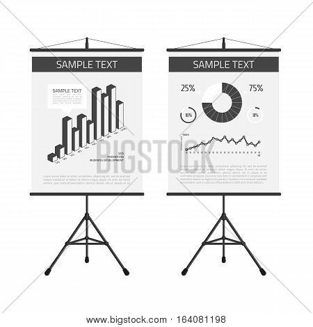 Presentation screen with infographic elements. A board with information, scheme, stock lines and round chart.