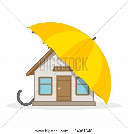 House Insurance vector illustration flat style. Infographic design elements. Private house under the umbrella, home insurance concept.