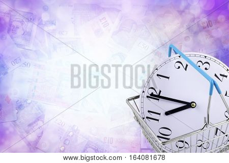 Buying some time - a subtle blue bokeh background of faded Sterling notes with a clock face in a shopping basket in bottom right corner and copy space all around
