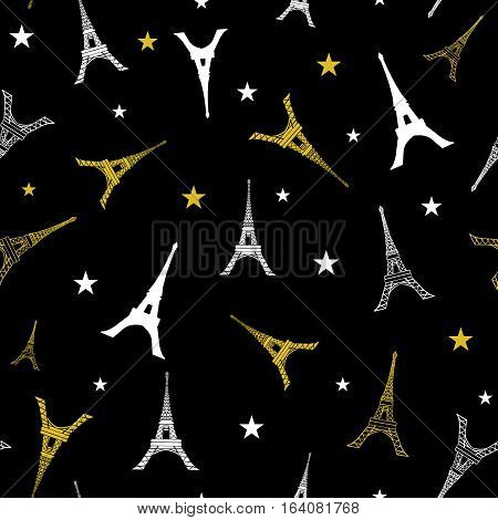 Unique Vector Gold White Eifel Tower Paris Seamless Repeat Pattern With Stars At Night. Perfect for travel themed postcards, greeting cards, wedding invitations. Surface pattern design.