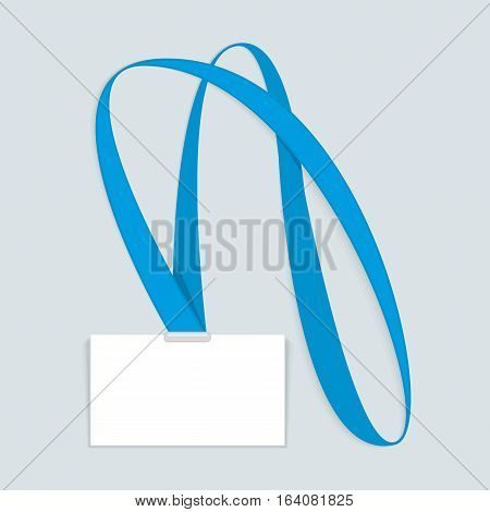 Id Name Badge Empty mock up. Vector Illustration of Identity Card Template. Identification white blank plastic.
