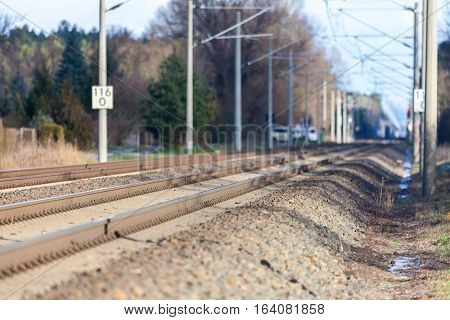 german rail road line with catenary wire