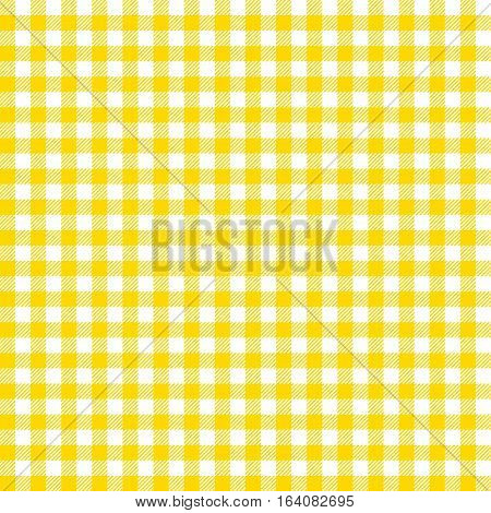 Seamless checkered vector pattern. Coarse vintage yellow plaid fabric texture. Abstract geometric background. Tablecloth for picnic Texture.