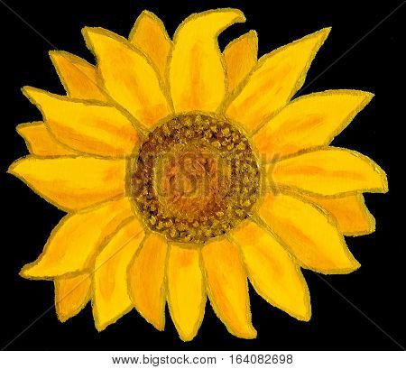 Acrylic painting yellow sunflower on dark blue background.
