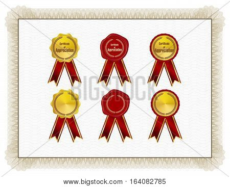Classic style Certificate with light brown floral border with seals