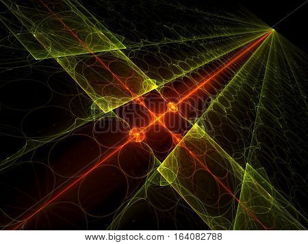 Tech background: glowing surface located on the diagonal, with lines and circles. Abstract computer-generated image for covers, web design, posters.