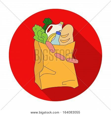 Paper bag filled with food icon in flat design isolated on white background. Supermarket symbol stock vector illustration.