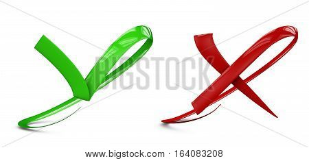 3d illustratio of Large flat buttons: green check and red crosses mark. isolated white