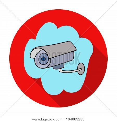 Security camera icon in flat design isolated on white background. Supermarket symbol stock vector illustration.