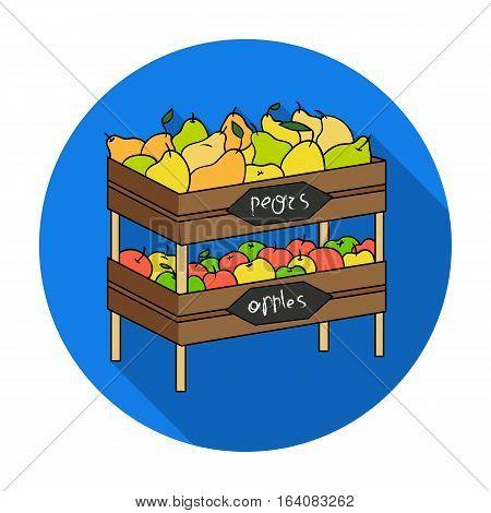 Raw food lying on rack shelves icon in flat design isolated on white background. Supermarket symbol stock vector illustration.