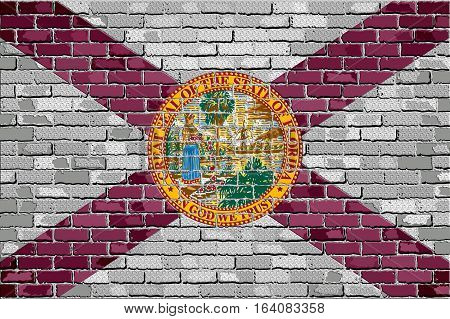 Flag of Florida on a brick wall with effect - 3D Illustration,  The flag of the state of Florida on brick textured background,  Florida Flag in brick style