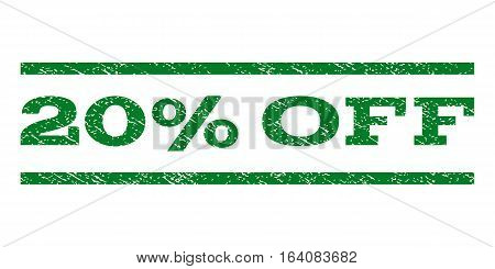 20 Percent Off watermark stamp. Text tag between horizontal parallel lines with grunge design style. Rubber seal green stamp with dust texture. Vector ink imprint on a white background.