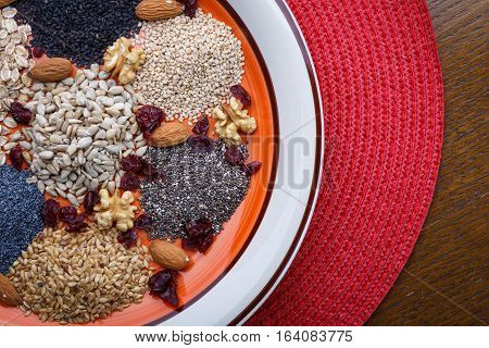 Assortment Of Fresh Dried Seeds Used As Ingredients In Cooking. Sunflower, Sesame, Linseed, Poppy, C