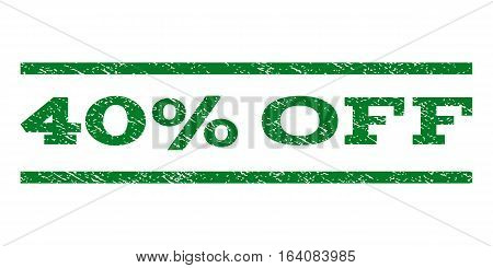 40 Percent Off watermark stamp. Text caption between horizontal parallel lines with grunge design style. Rubber seal green stamp with dust texture. Vector ink imprint on a white background.
