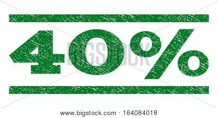 40 Percent watermark stamp. Text tag between horizontal parallel lines with grunge design style. Rubber seal green stamp with scratched texture. Vector ink imprint on a white background.
