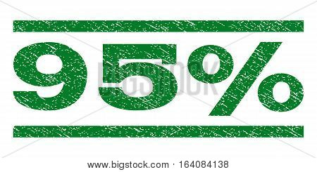 95 Percent watermark stamp. Text caption between horizontal parallel lines with grunge design style. Rubber seal green stamp with scratched texture. Vector ink imprint on a white background.