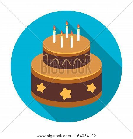 Chocolate cake with stars icon in flat design isolated on white background. Cakes symbol stock vector illustration.