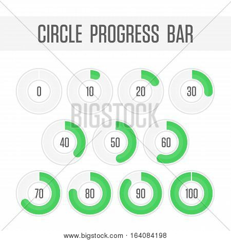 Icons pie graph circle percentage green chart. Infographics vector colored diagrams isolated on white background