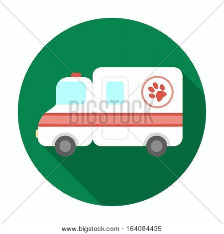 Veterinary ambulance icon in flat design isolated on white background. Veterinary clinic symbol stock vector illustration.