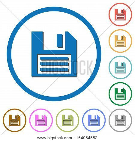Floppy disk flat color vector icons with shadows in round outlines on white background